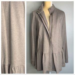 Cabi Brown Zip Up Ruffle Long Sleeve Sweater M